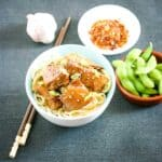 A bowl of noodles with chicken pieces, a bowl of edamame beans, chill flakes and a head of garlic.