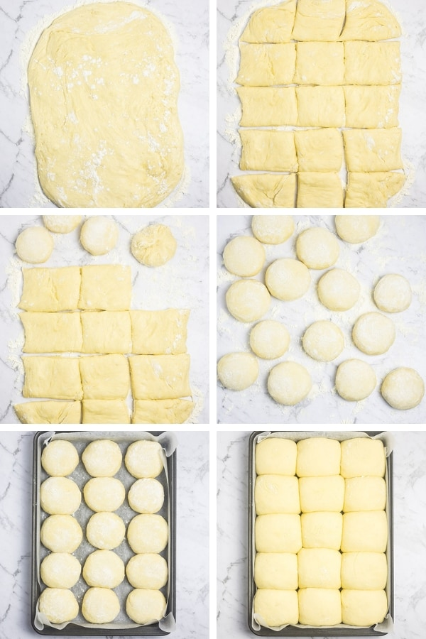 Collage of six images showing the steps in shaping the dough for baking