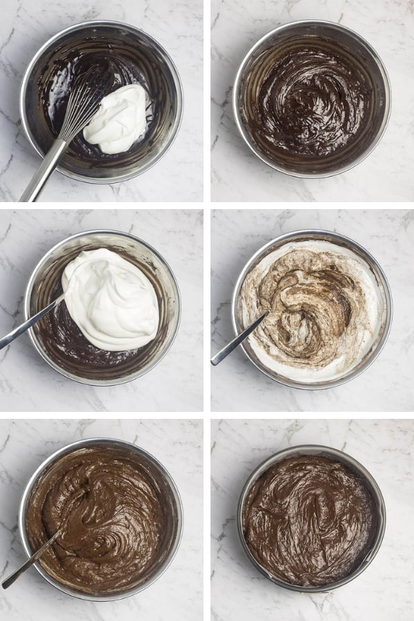 collage of images showing the method for folding egg whites into batter