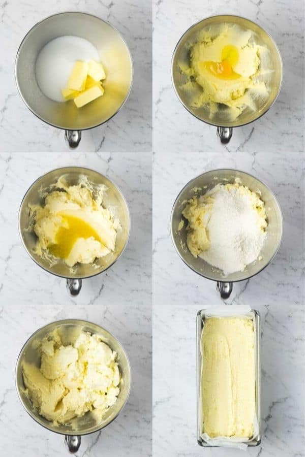 collage of 6 images showing the steps in making a lemon ricotta cake