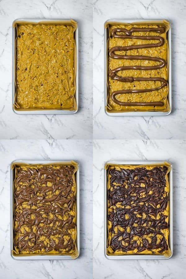 image collage of Nutella blondies ready for baking