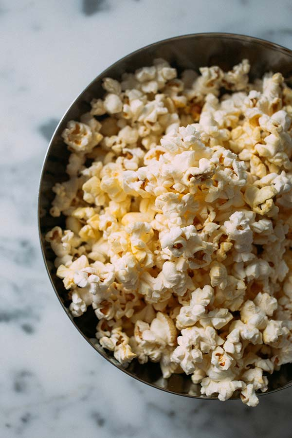 a close up image of a bowl of popcorn