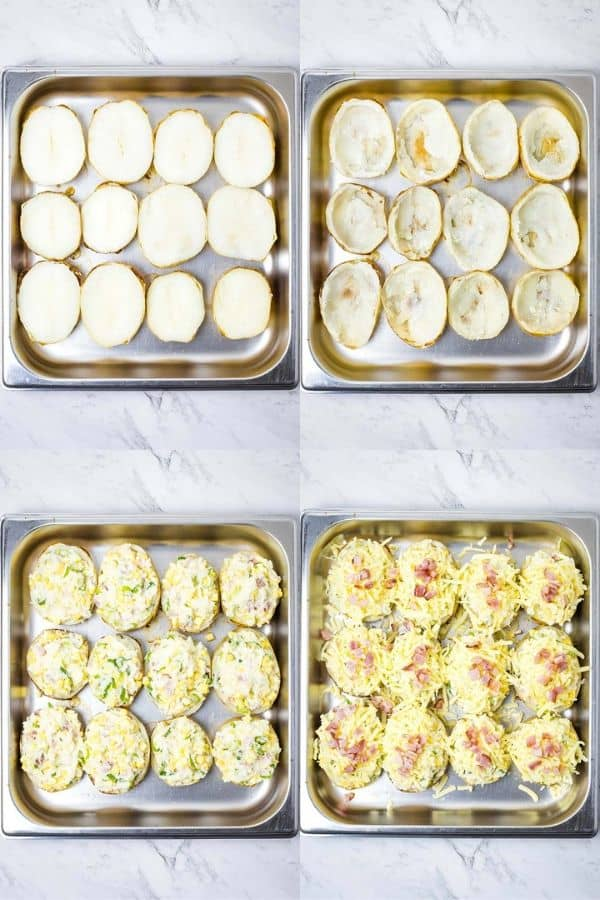 photo collage of filling potato skins for twice baked potatoes