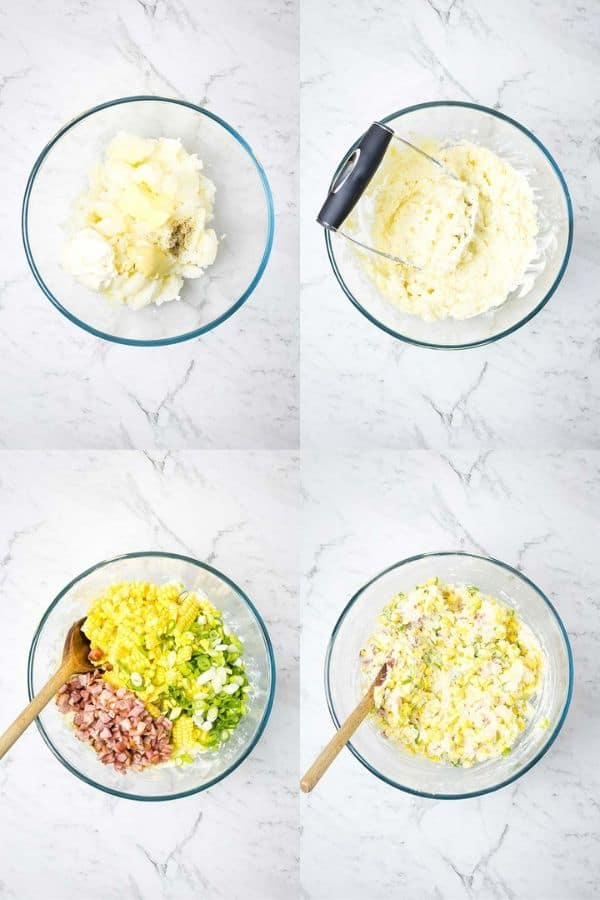 photo collage of the steps for mixing twice baked potato filling; mash potatoes, add seasonings, stir