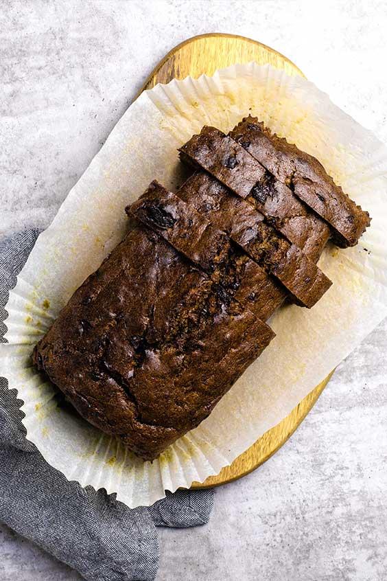 sliced loaf of chocolate chunk banana bread