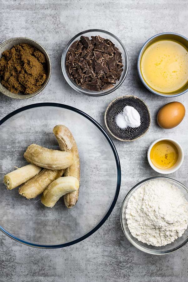 ingredients for choc banana bread
