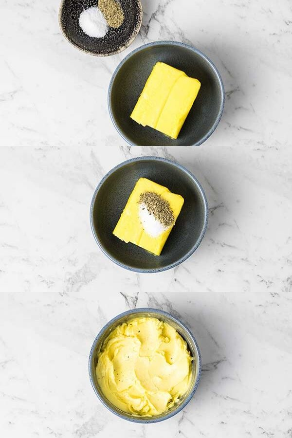 a collage of images of a bowl with butter and seasonings being combined