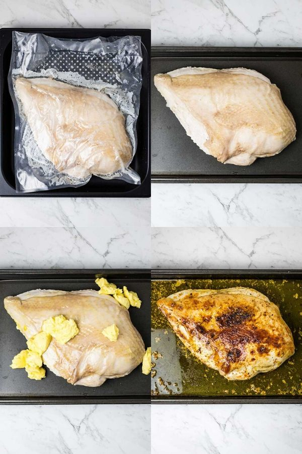 four images showing the turkey being unbagged and browning after being cooked sous vide