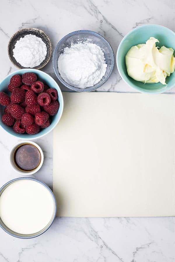 ingredients for raspberry mascarpone pastry stacks