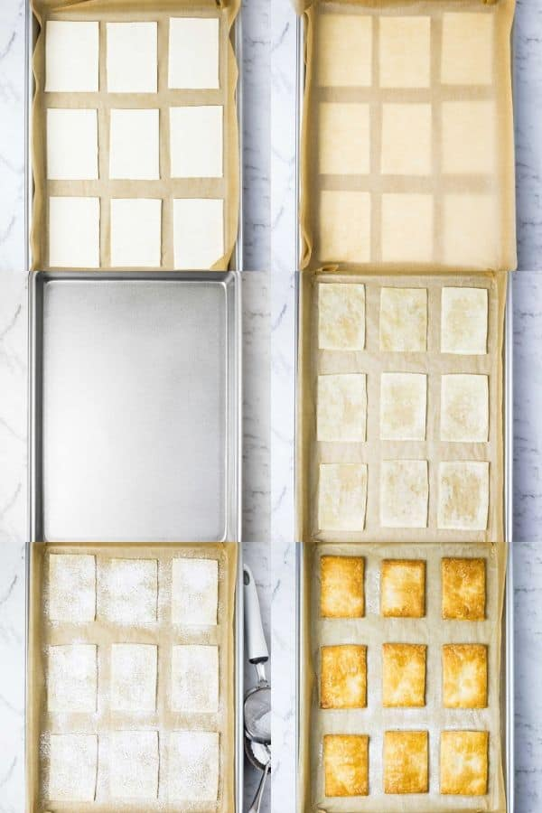 steps for preparing and baking puff pastry for mille feuille