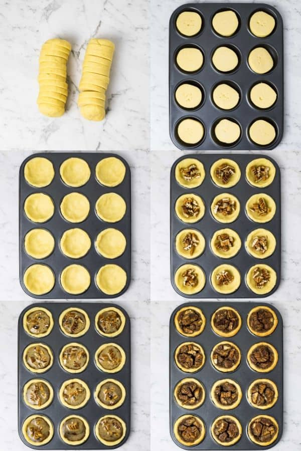 collage of 6 images showing the steps in assembling mini pecan pies
