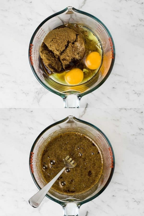 a collage of two images showing ingredients added to a jug and then combined with a fork