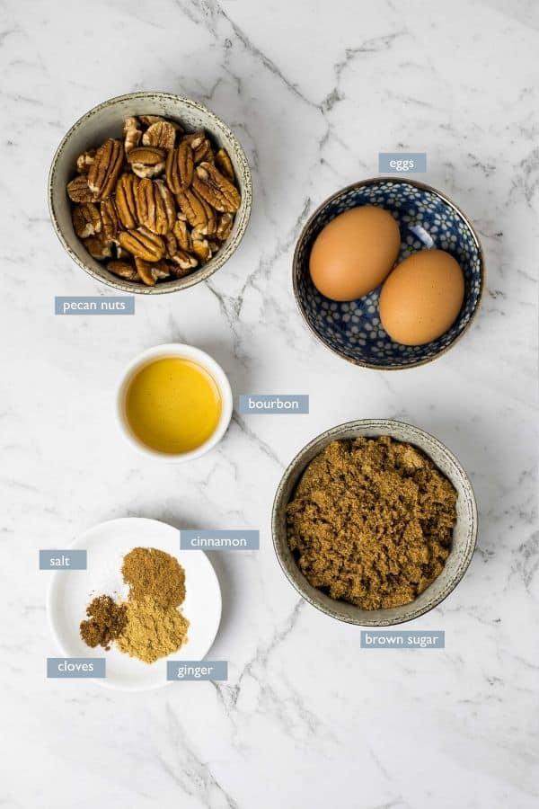 filling ingredients for pecan pies