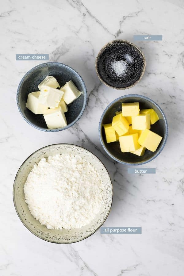 ingredients for cream cheese pastry in individual bowls