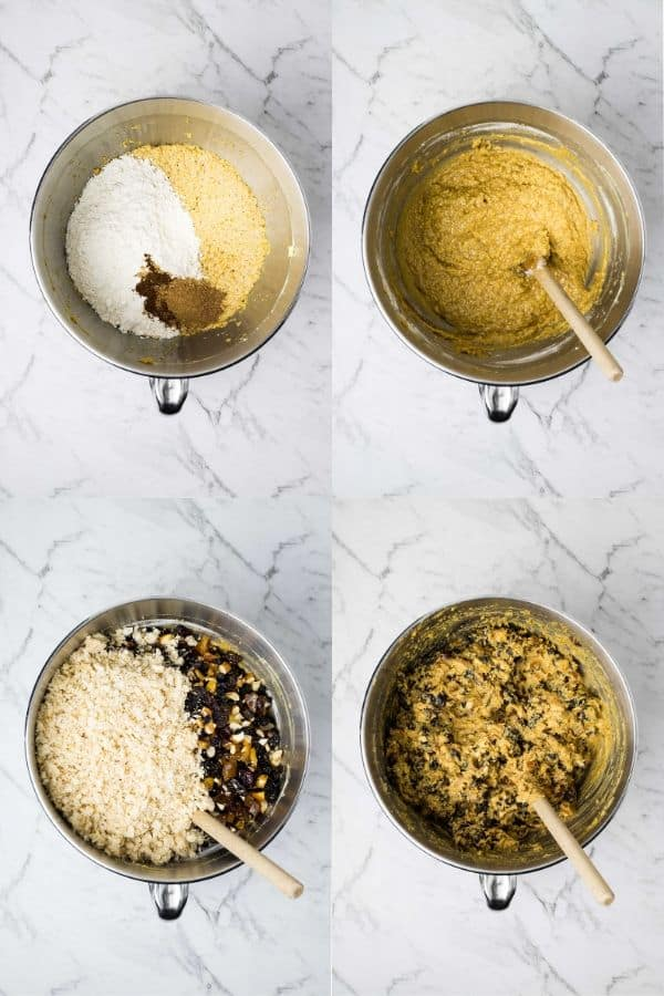 mixing creamed mixture with fruit, nuts, flour and breadcrumbs for christmas pudding