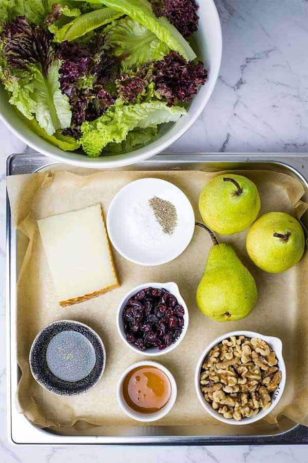 ingredients for roasted pear and walnut salad