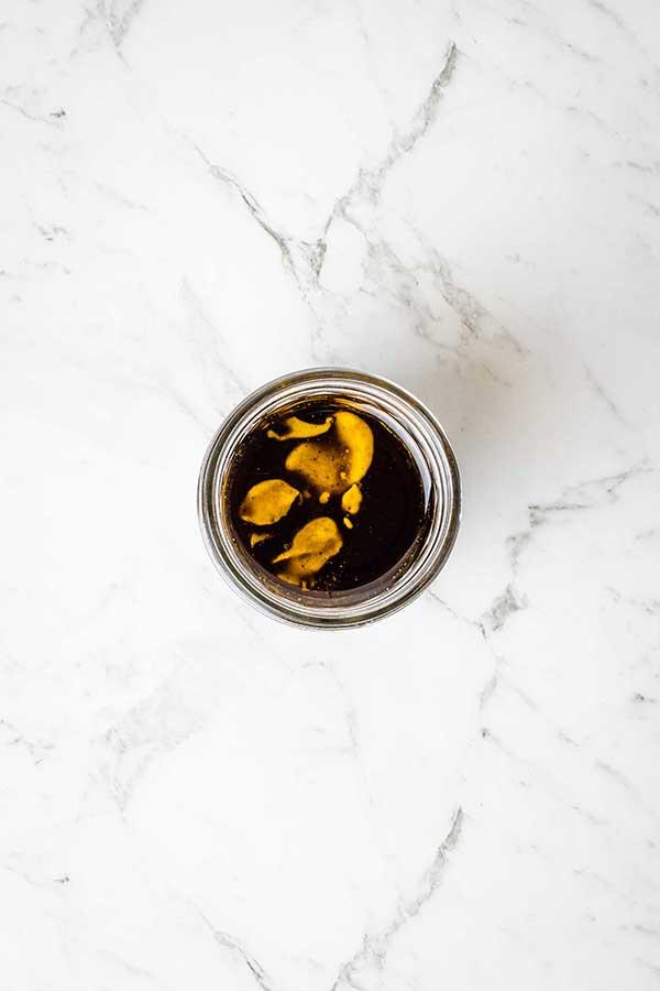 honey mustard dressing in a jar