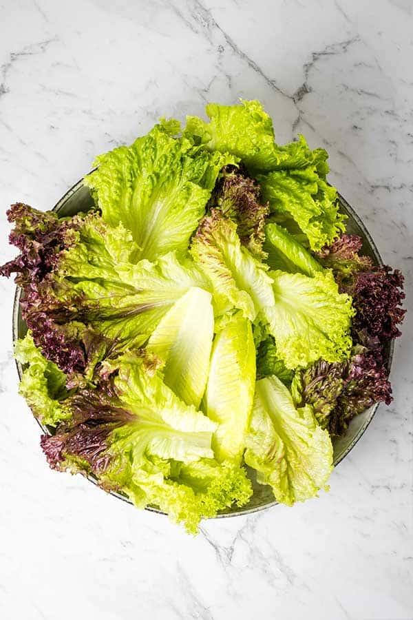 bowl of salad leaves