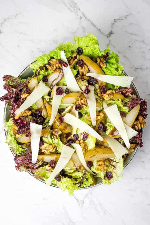 roasted pear and walnut salad bowl