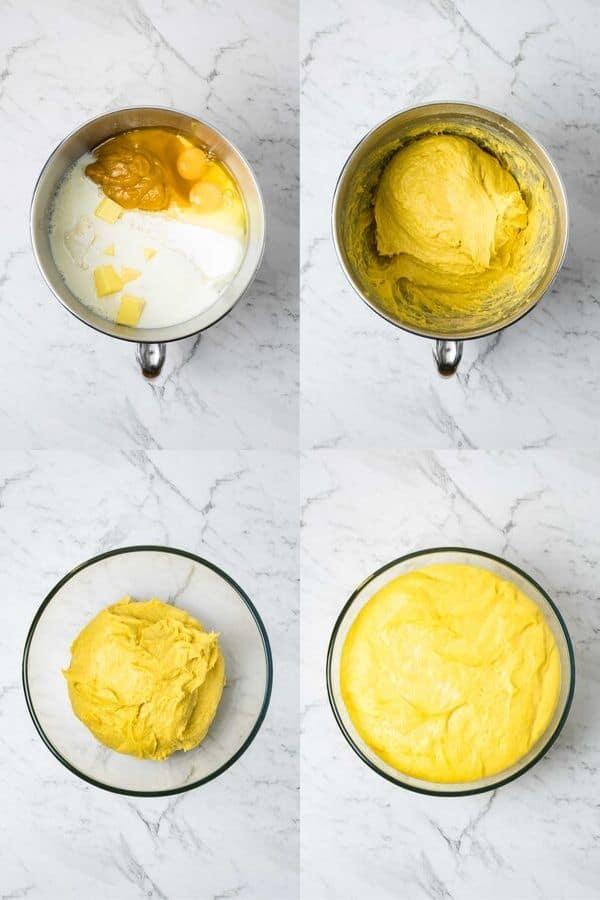 process steps for mixing pumpkin roll dough