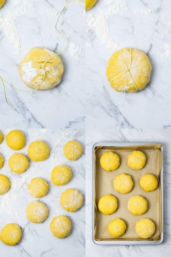 steps for making pumpkin shaped bread rolls