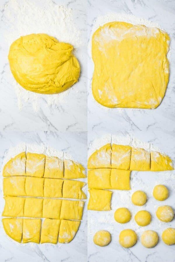 steps for forming pumpkin rolls