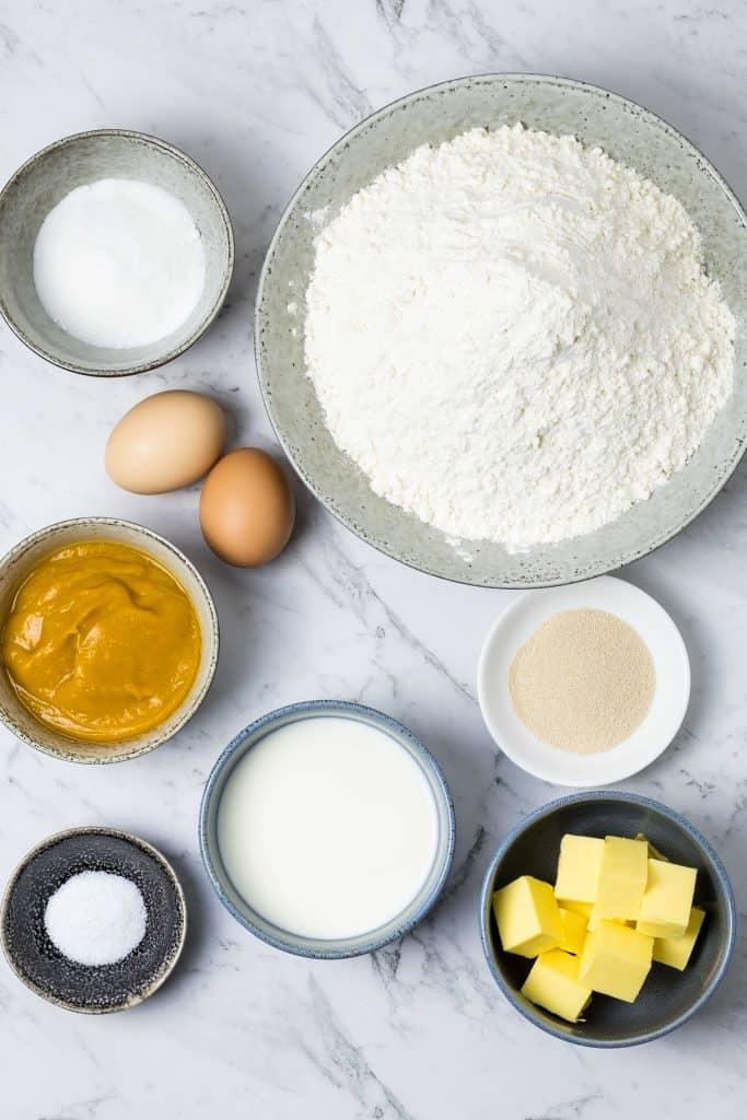 ingredients for pumpkin bread rolls