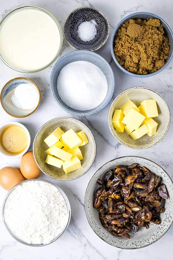 ingredients for sticky date pudding