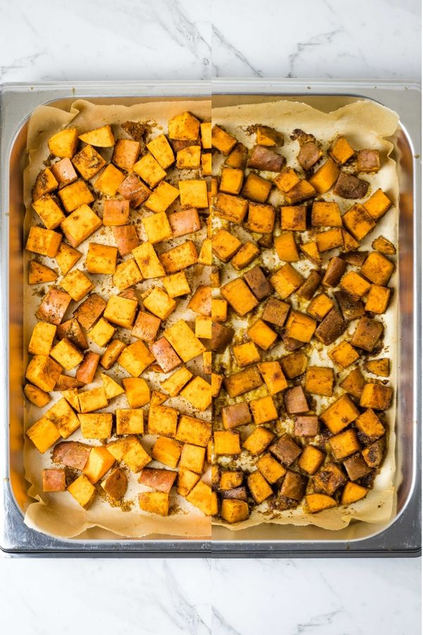 before and after roasted spiced sweet potato cubes