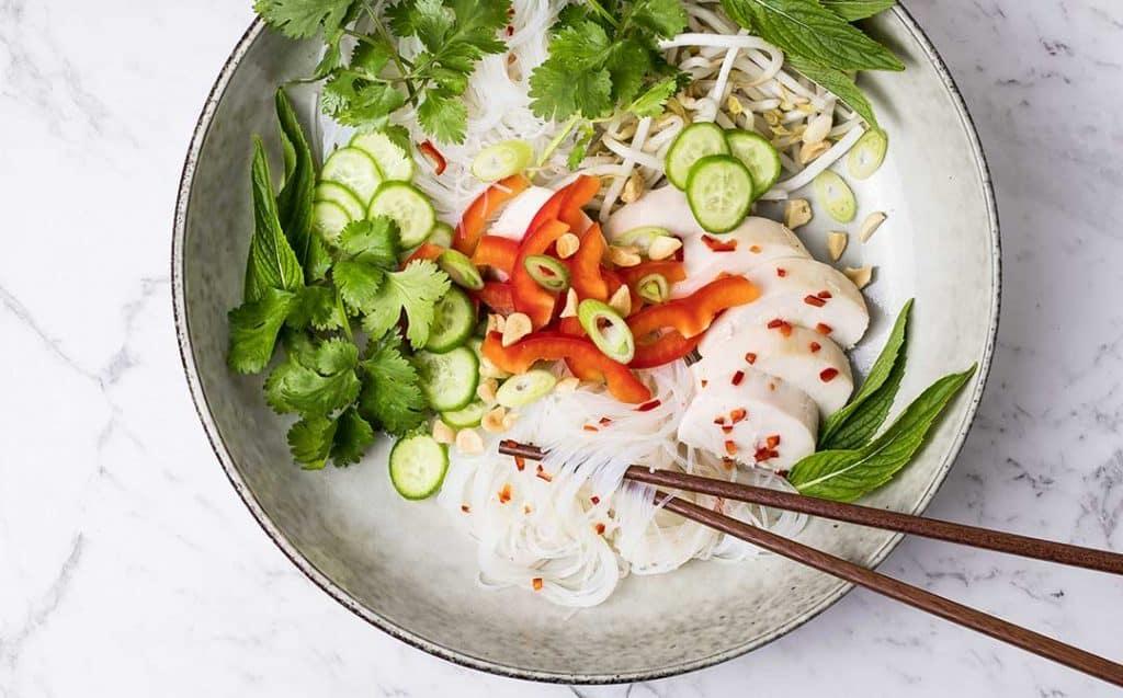 leftover turkey noodle salad with Vietnamese dressing