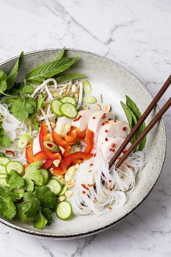 Vietnamese turkey noodle salad hero shot