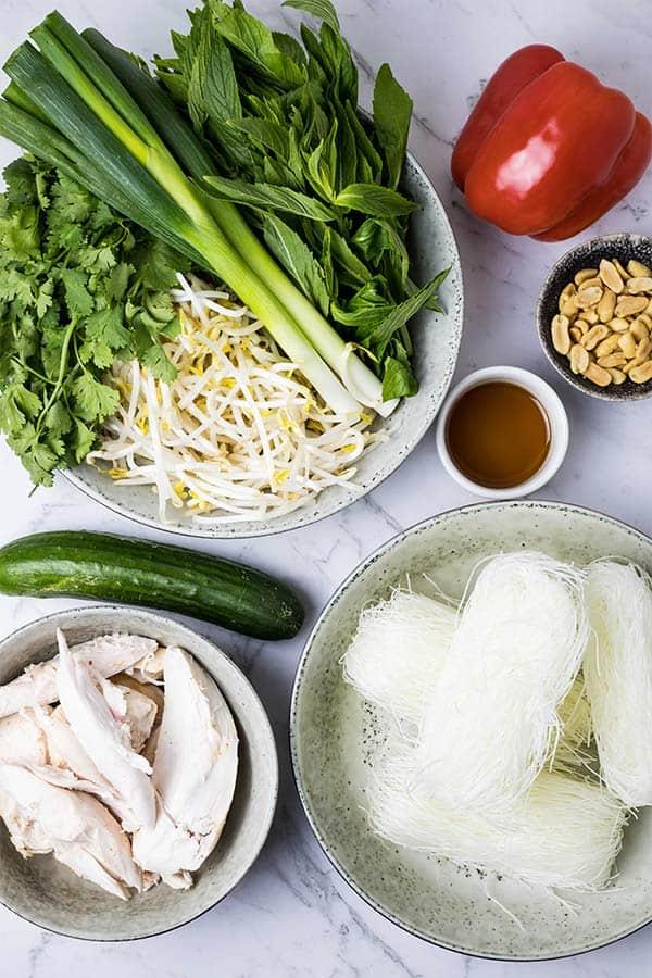 ingredients for turkey noodle salad