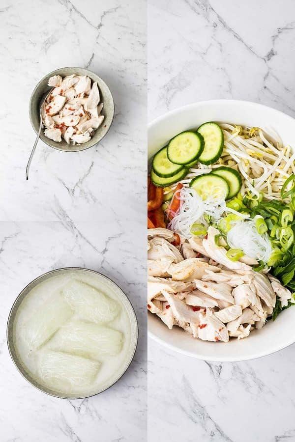 assembling Vietnamese turkey noodle salad