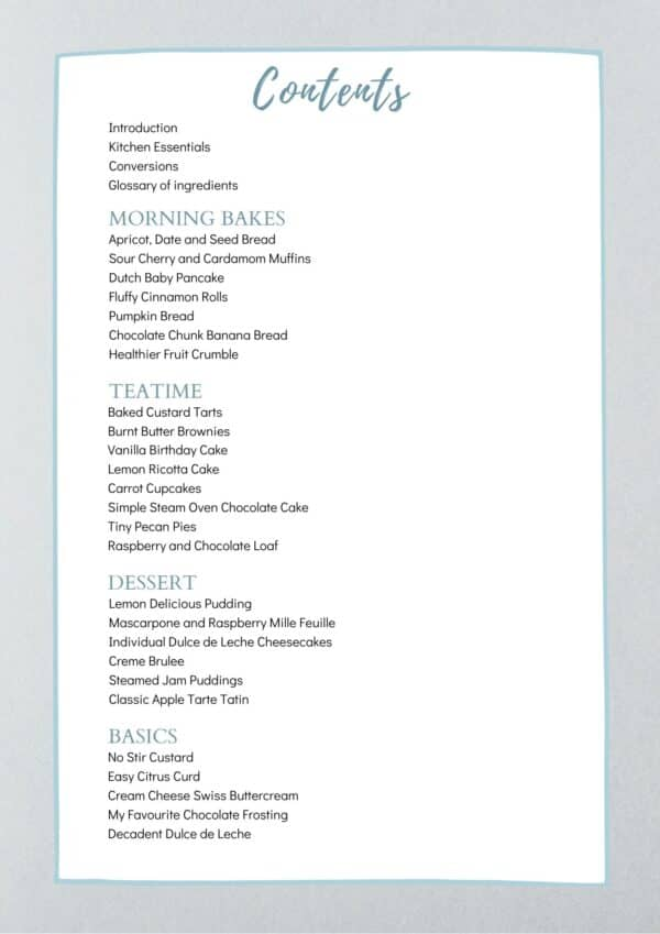 baking ebook contents page text