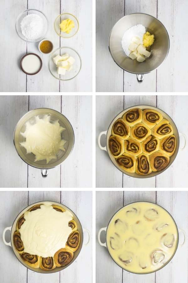 a collage showing the ingredients for a glaze being prepared and topping cinnamon rolls