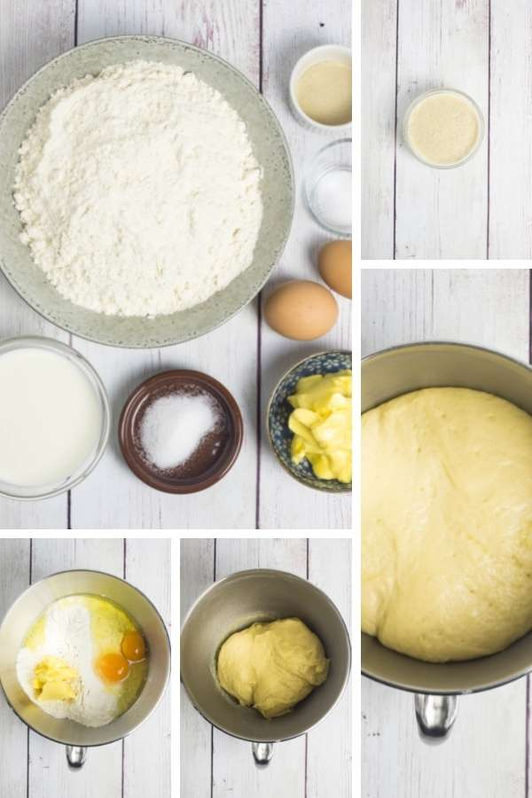 collage of five images showing the ingredients for a dough being combined in stages to form a dough
