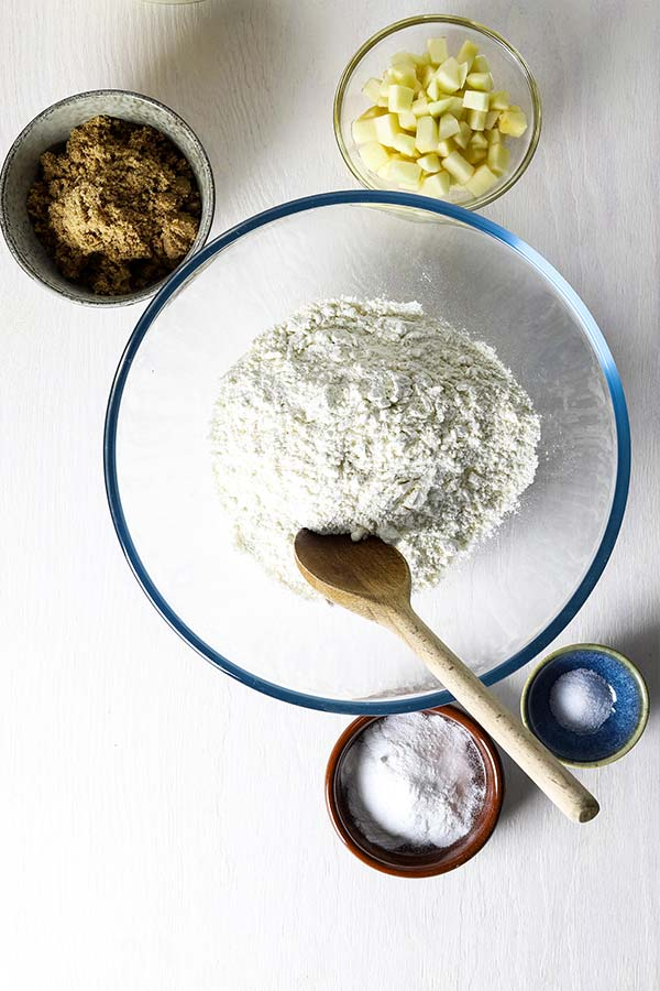 ingredients being mixed for oatmeal muffins