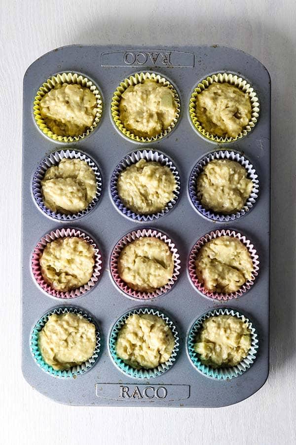 raw oatmeal muffins in pan