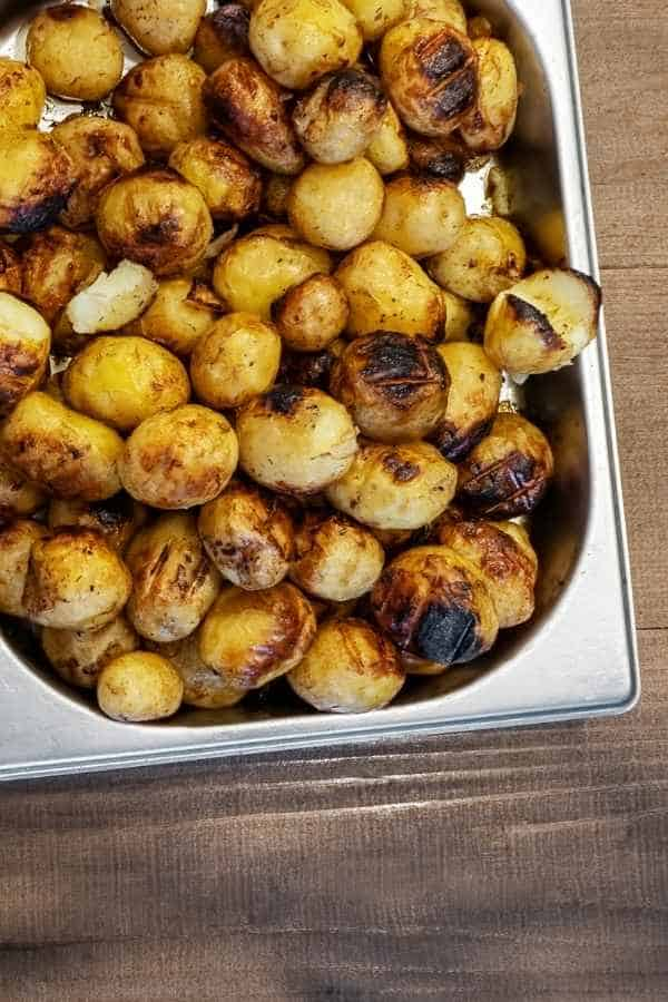 gastronorm pan with roasted potatoes