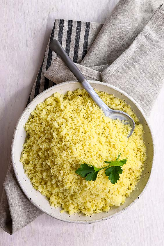 a bowl of fluffy steamed couscous