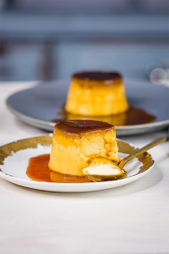 creme caramels on serving plates