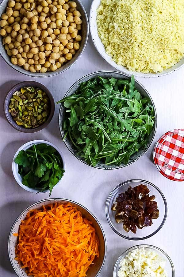 ingredients for Moroccan chickpea salad