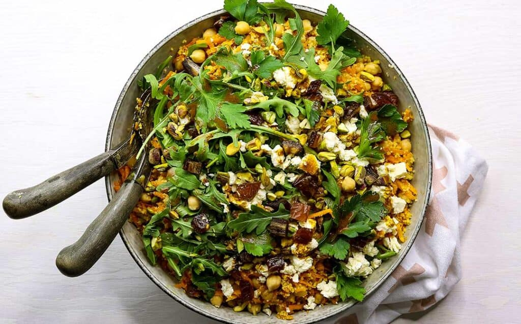 bowl of Moroccan chickpea salad