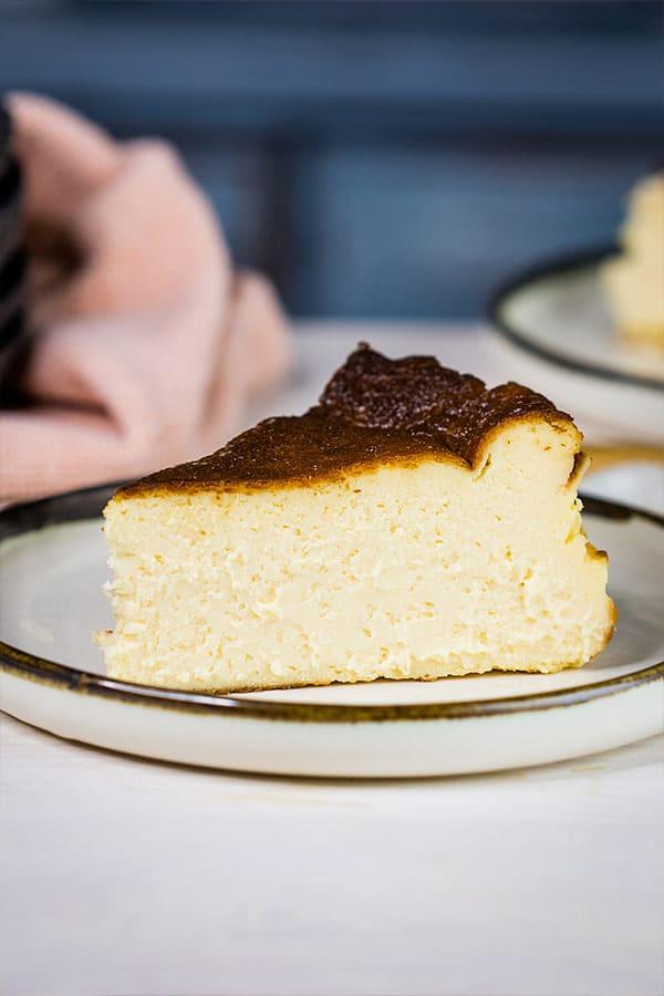 a slice of Basque cheesecake