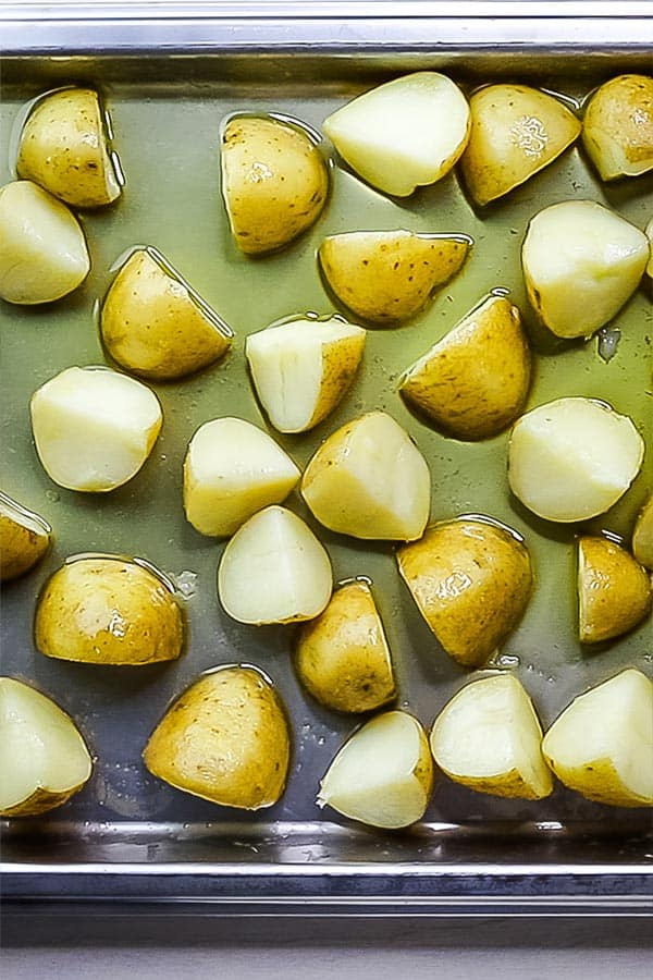 steamed potatoes with oil on top